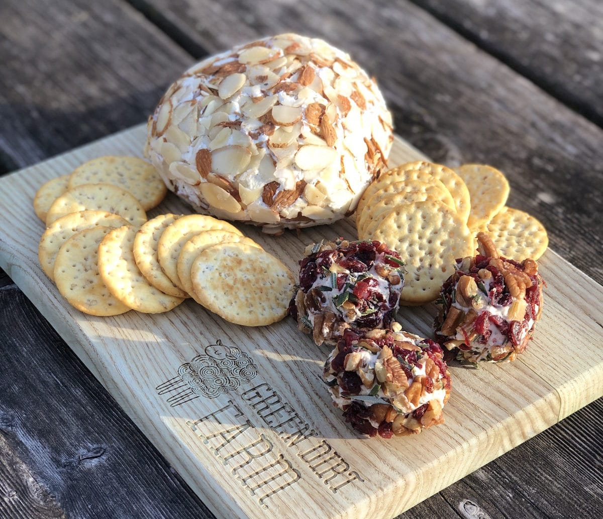Use Green Dirt Farm's fresh sheep cheese for this sweet and savory cheese ball recipe.