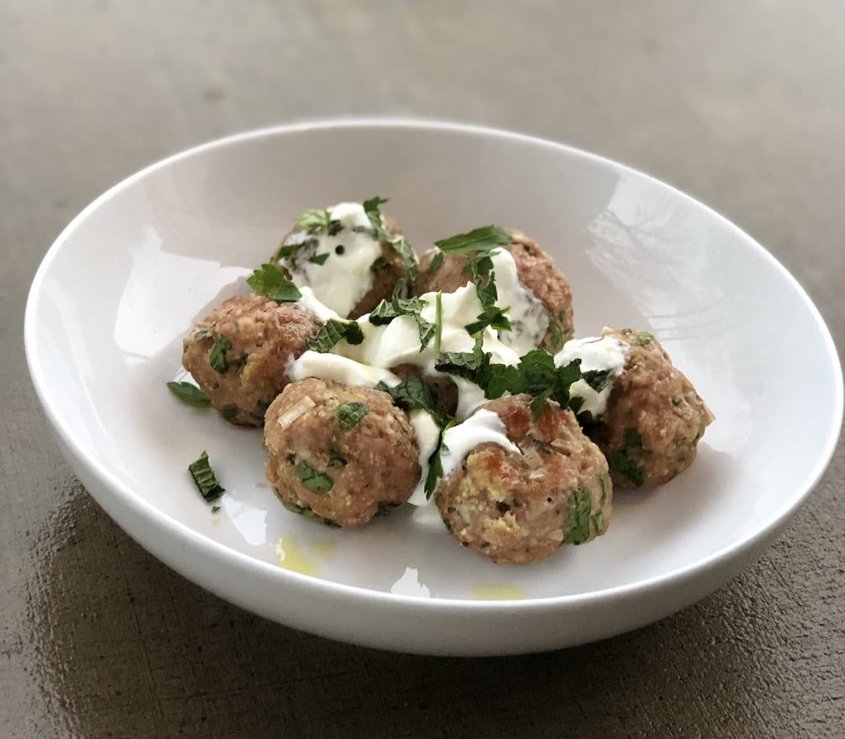 Try this mediterranean lamb meatball recipe with ground lamb from Green Dirt Farm.