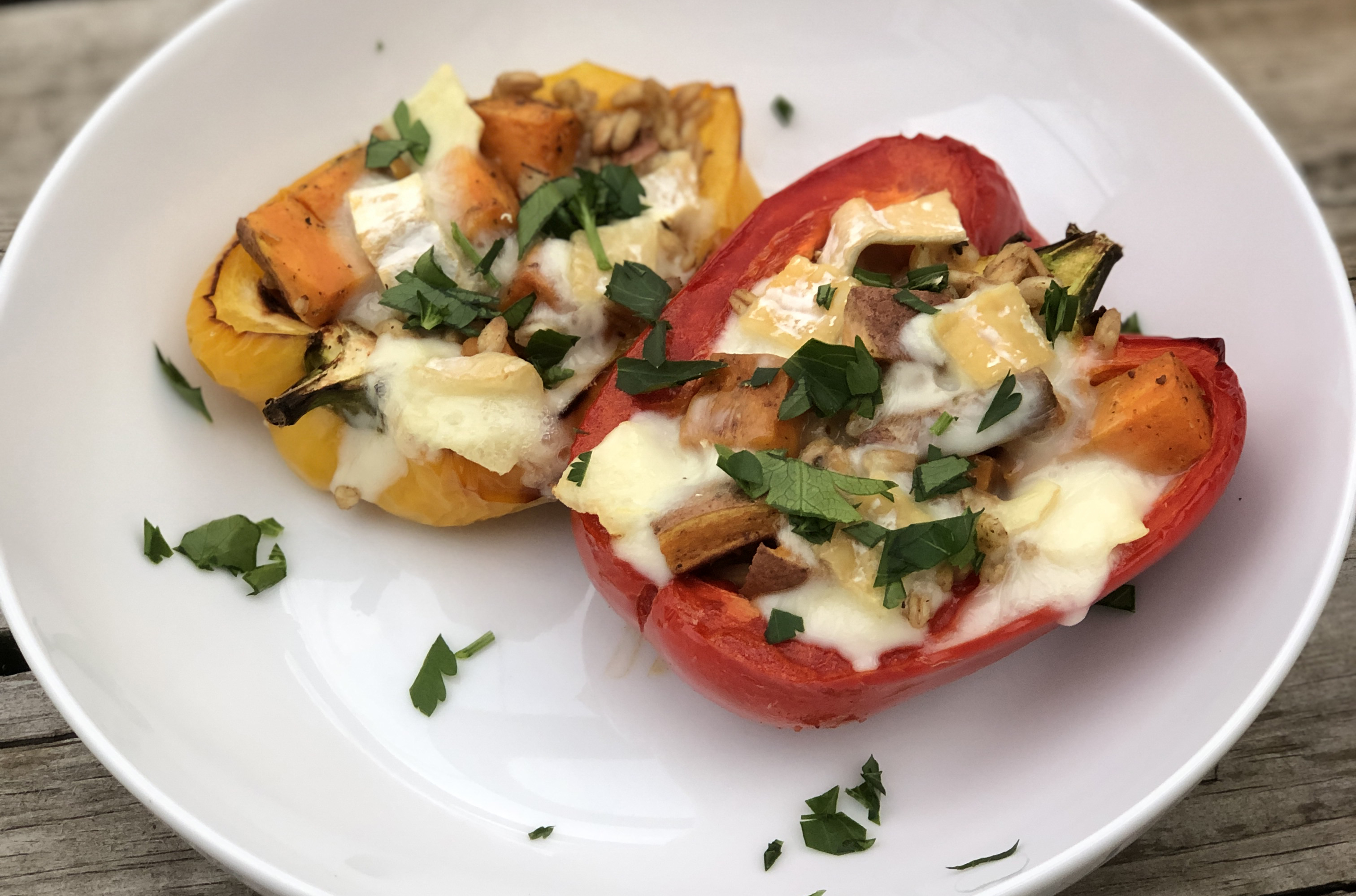 Try this vegetarian stuffed peppers recipe with sweet potatoes, farro and blended milk cheese by Green Dirt Farm.